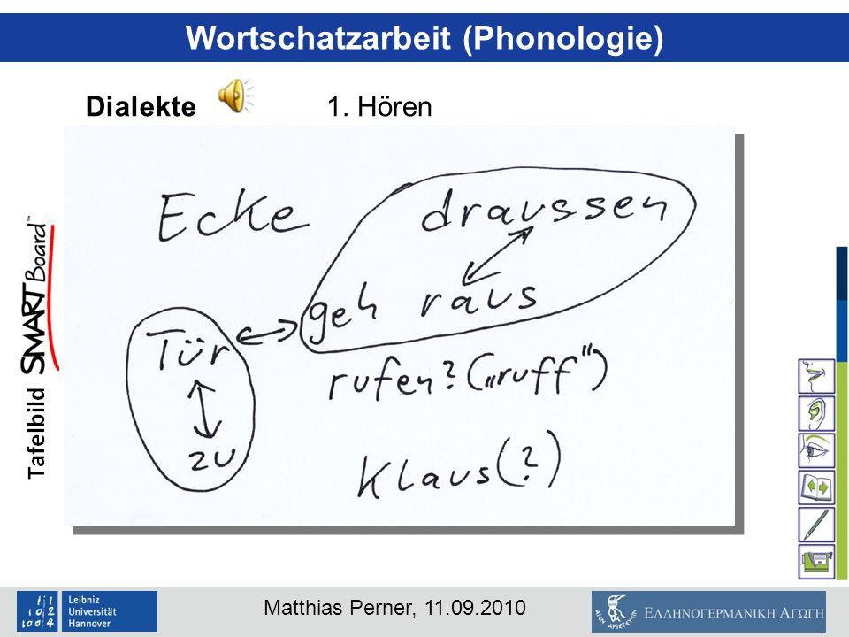 Matthias Perner, 11.09.2010 Wortschatzarbeit (Phonologie) Dialekte1. Hören