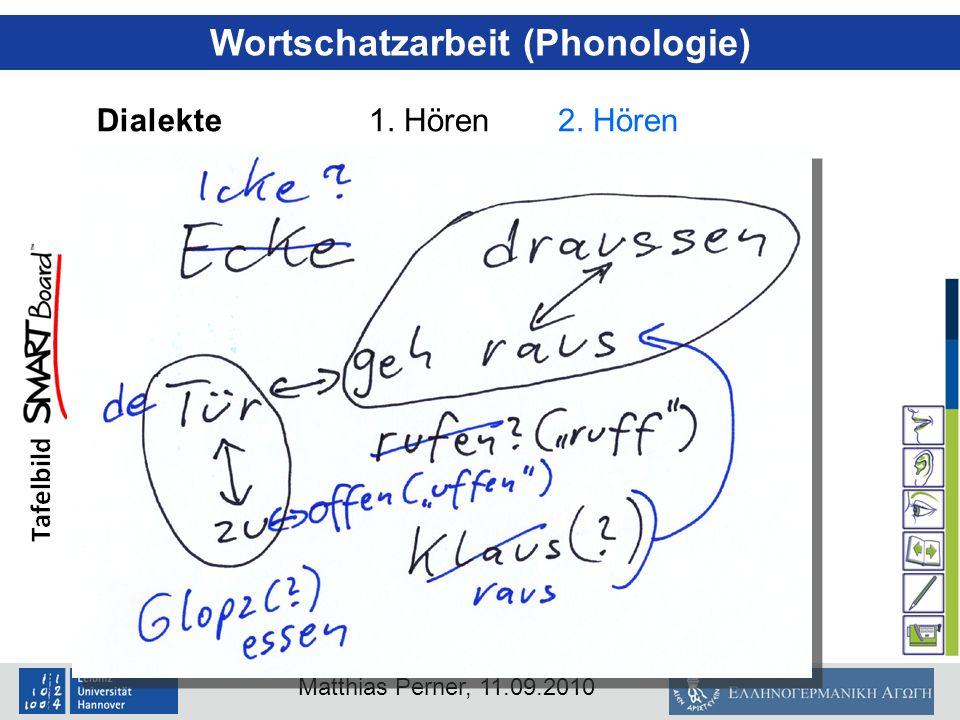 Matthias Perner, 11.09.2010 Wortschatzarbeit (Phonologie) Dialekte1. Hören2. Hören