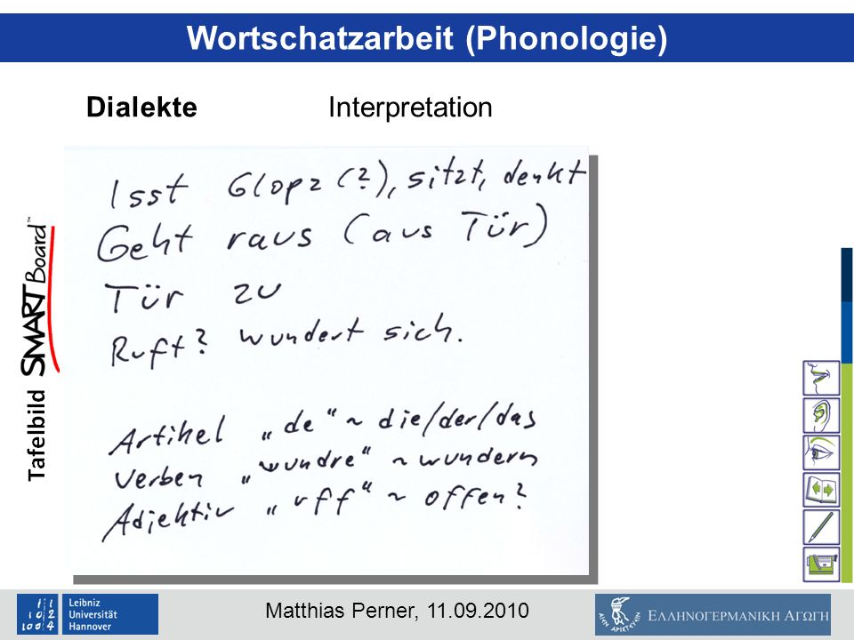 Matthias Perner, 11.09.2010 Wortschatzarbeit (Phonologie) DialekteInterpretation