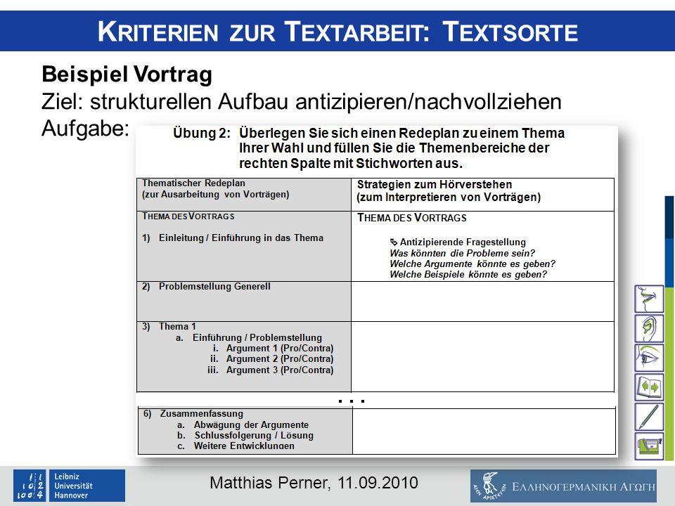 Matthias Perner, 11.09.2010 K RITERIEN ZUR T EXTARBEIT : T EXTSORTE Beispiel Vortrag Ziel: strukturellen Aufbau antizipieren/nachvollziehen Aufgabe: