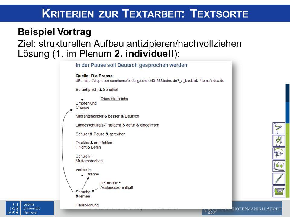 Matthias Perner, 11.09.2010 K RITERIEN ZUR T EXTARBEIT : T EXTSORTE Beispiel Vortrag Ziel: strukturellen Aufbau antizipieren/nachvollziehen Lösung (1.