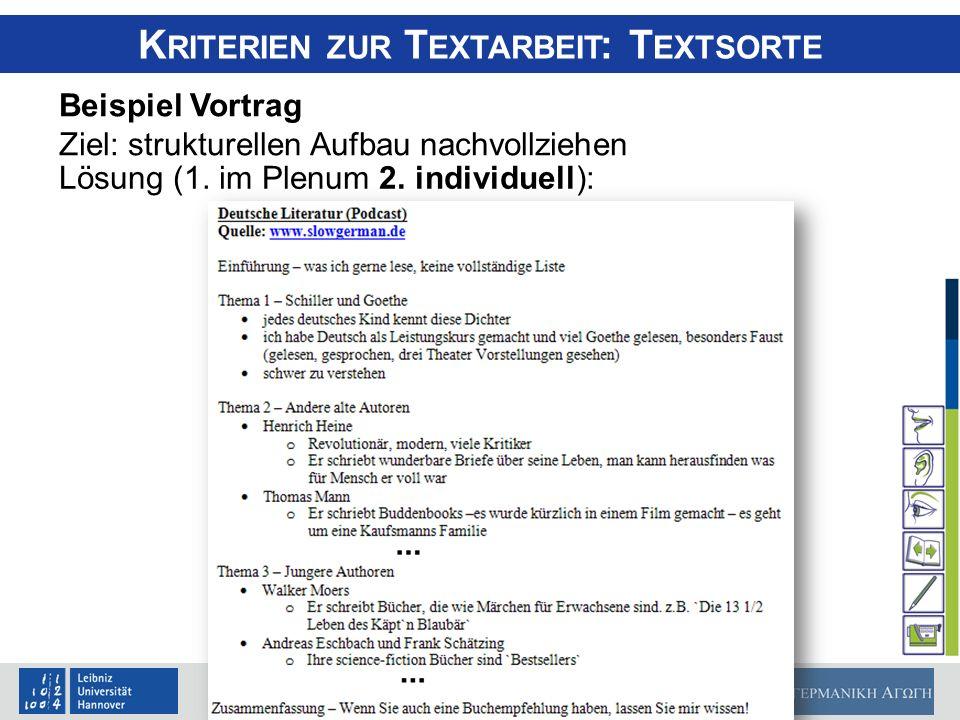 Matthias Perner, 11.09.2010 K RITERIEN ZUR T EXTARBEIT : T EXTSORTE Beispiel Vortrag Ziel: strukturellen Aufbau nachvollziehen Lösung (1. im Plenum 2.