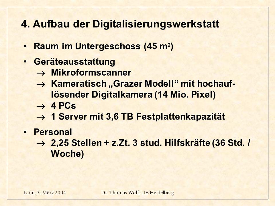 Köln, 5. März 2004Dr. Thomas Wolf, UB Heidelberg 4. Aufbau der Digitalisierungswerkstatt Raum im Untergeschoss (45 m 2 ) Geräteausstattung Mikroformsc