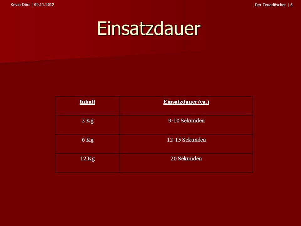 Kevin Dörr   09.11.2012 6 Der Feuerlöscher   6 Einsatzdauer InhaltEinsatzdauer (ca.) 2 Kg9-10 Sekunden 6 Kg12-15 Sekunden 12 Kg20 Sekunden