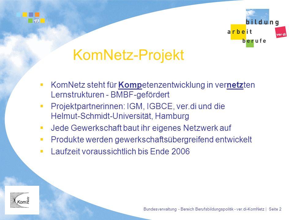 Bundesverwaltung - Bereich Berufsbildungspolitik - ver.di-KomNetz | Seite 2 KomNetz-Projekt KomNetz steht für Kompetenzentwicklung in vernetzten Lerns