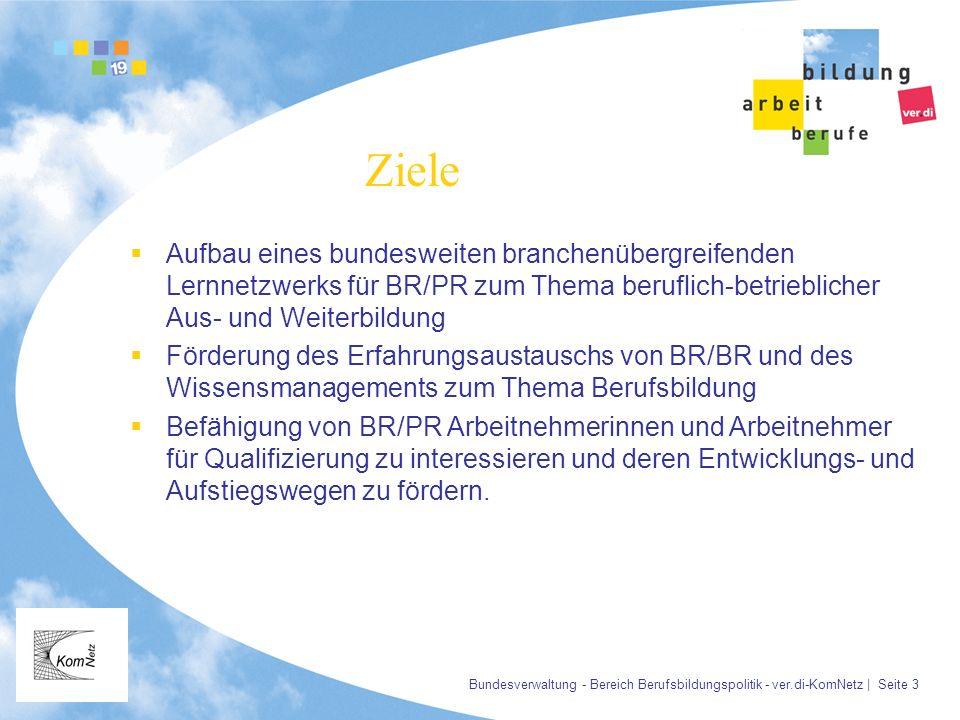 Bundesverwaltung - Bereich Berufsbildungspolitik - ver.di-KomNetz | Seite 3 Ziele Aufbau eines bundesweiten branchenübergreifenden Lernnetzwerks für B