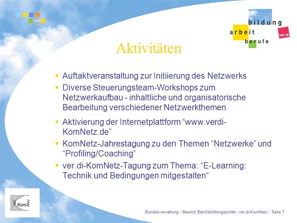 Bundesverwaltung - Bereich Berufsbildungspolitik - ver.di-KomNetz | Seite 7 Aktivitäten Auftaktveranstaltung zur Initiierung des Netzwerks Diverse Ste