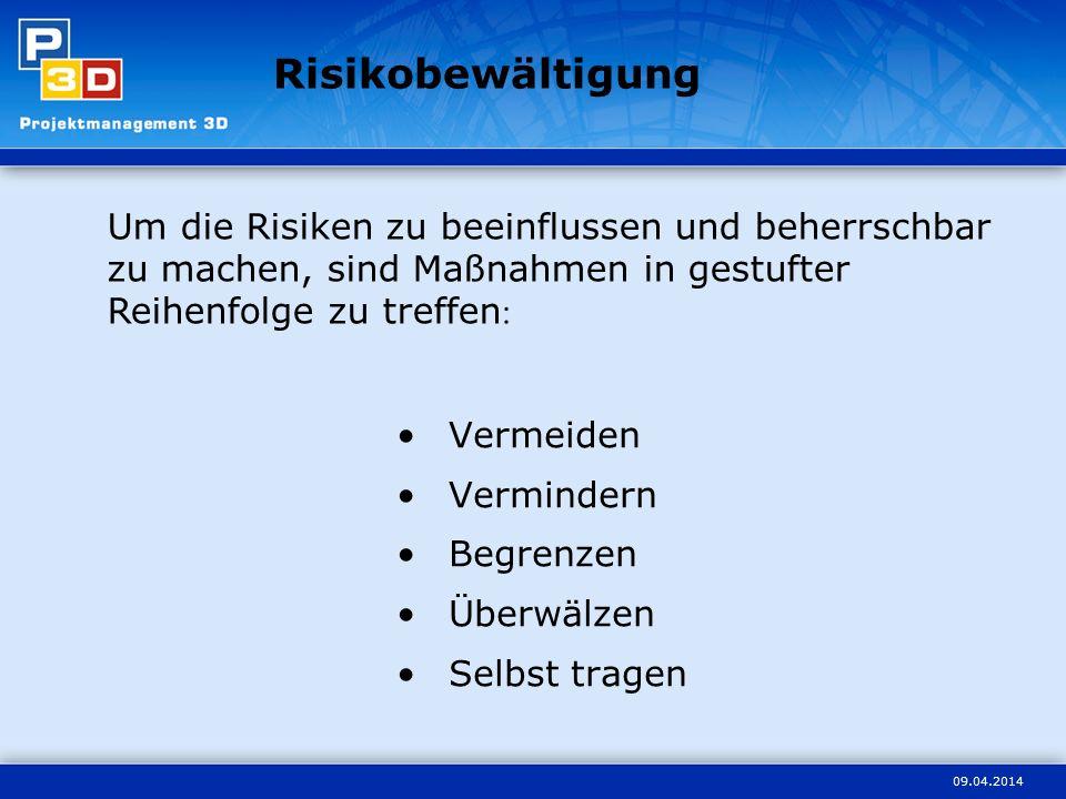 09.04.2014 Risikobewältigung Vermeiden Vermindern Begrenzen Überwälzen Selbst tragen Um die Risiken zu beeinflussen und beherrschbar zu machen, sind Maßnahmen in gestufter Reihenfolge zu treffen :