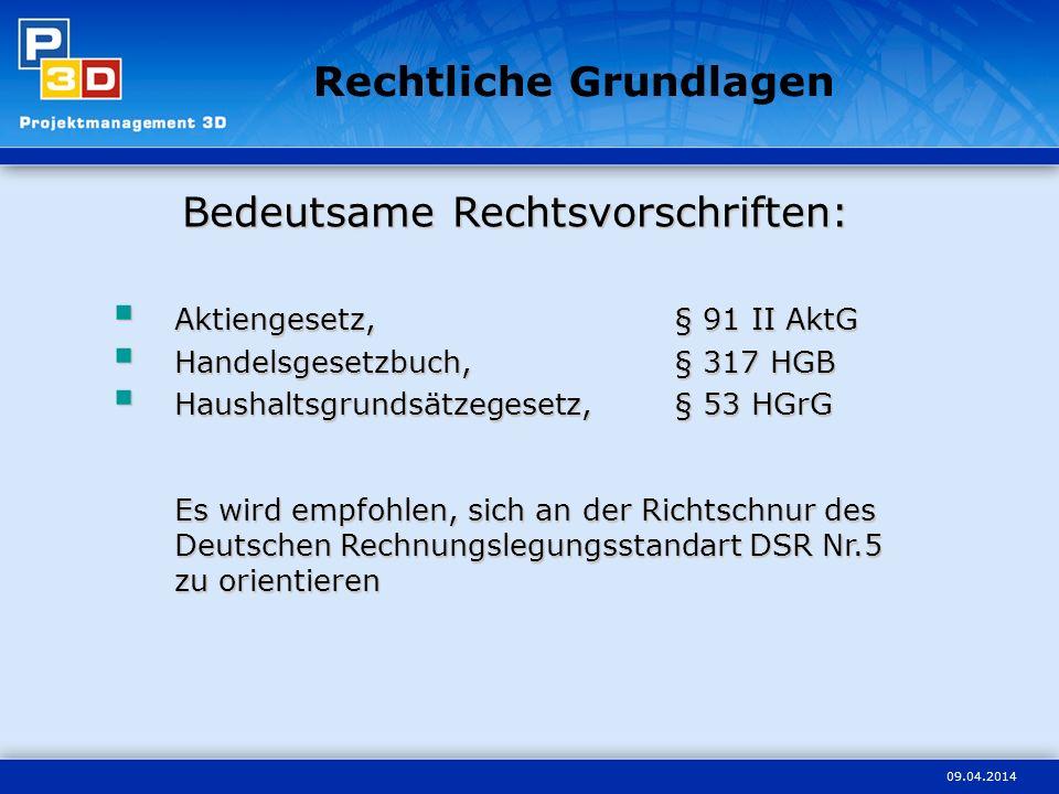 09.04.2014 Bedeutsame Rechtsvorschriften: Aktiengesetz,§ 91 II AktG Aktiengesetz,§ 91 II AktG Handelsgesetzbuch,§ 317 HGB Handelsgesetzbuch,§ 317 HGB Haushaltsgrundsätzegesetz,§ 53 HGrG Es wird empfohlen, sich an der Richtschnur des Deutschen Rechnungslegungsstandart DSR Nr.5 zu orientieren Haushaltsgrundsätzegesetz,§ 53 HGrG Es wird empfohlen, sich an der Richtschnur des Deutschen Rechnungslegungsstandart DSR Nr.5 zu orientieren Rechtliche Grundlagen