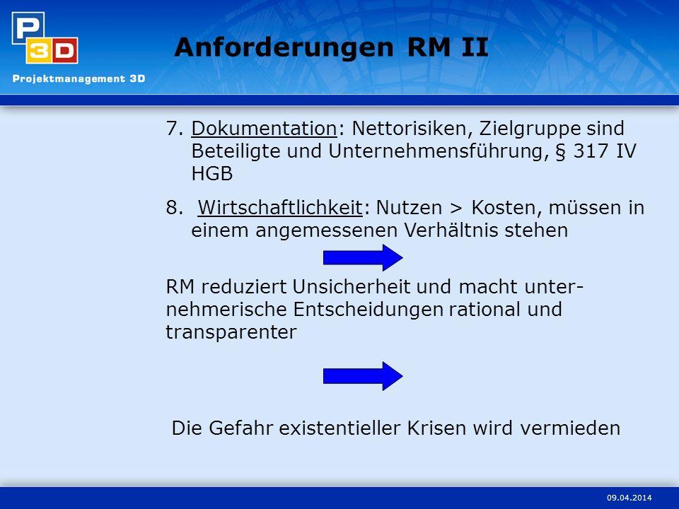 09.04.2014 Anforderungen RM II 7.Dokumentation: Nettorisiken, Zielgruppe sind Beteiligte und Unternehmensführung, § 317 IV HGB 8. Wirtschaftlichkeit: