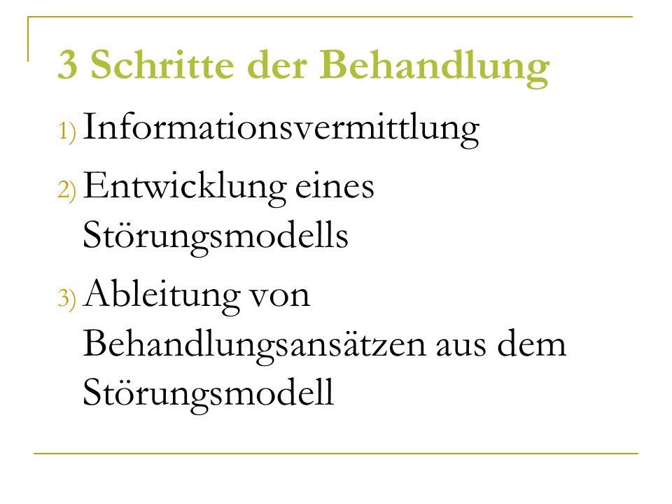 3 Schritte der Behandlung 1) Informationsvermittlung 2) Entwicklung eines Störungsmodells 3) Ableitung von Behandlungsansätzen aus dem Störungsmodell