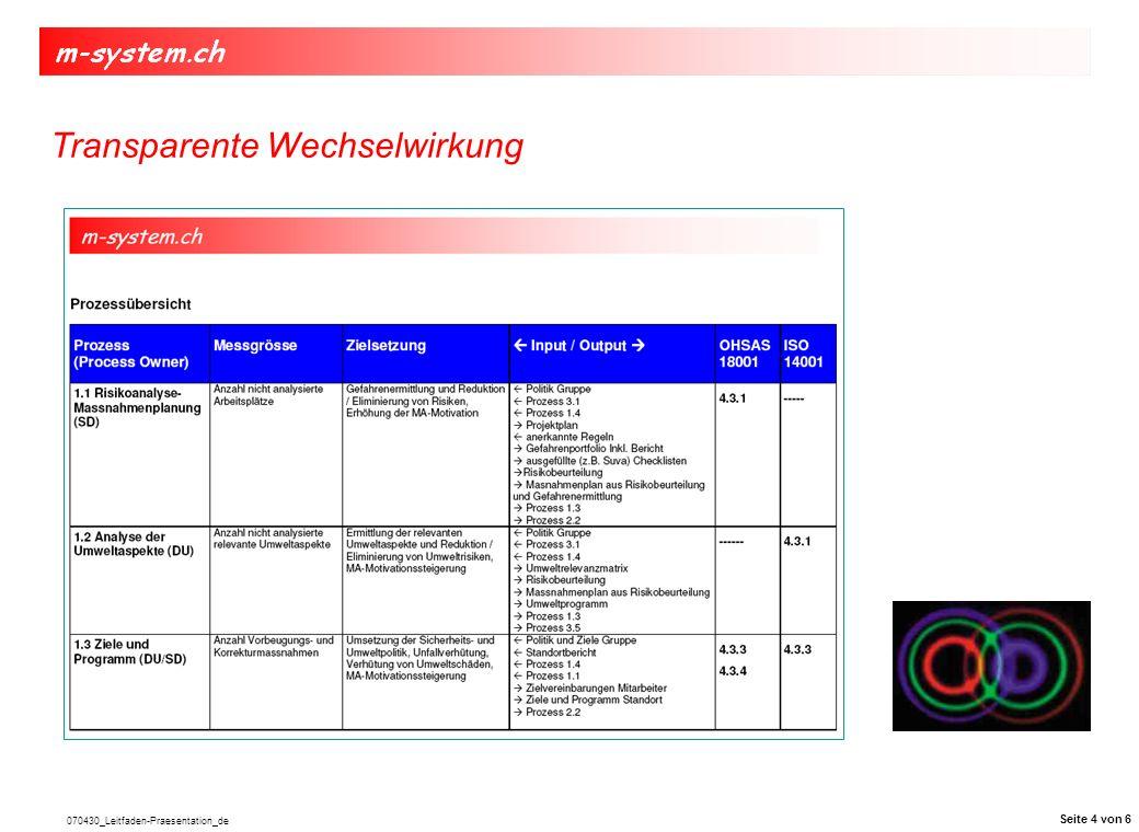 070430_Leitfaden-Praesentation_de Integration des Leitfadens ins bestehende Systems Leitfaden M-System Schulung des integrierten Systems Interne Überprüfung der Umsetzung des Systems Umsetzung der Korrektur- massnahmen Zertifizierung ISO 14001:2004 OHSAS 18001:2007 Erkenntnisse aus dem Audit Ergänzung des Leitfadens zum eigenen System Leitfaden M-System Fünf Schritte bis zur Zertifizierung Seite 5 von 6