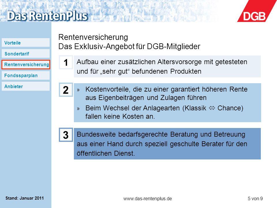 Vorteile Sondertarif Rentenversicherung Fondssparplan Anbieter www.das-rentenplus.de5 von 9 Stand: Januar 2011 Rentenversicherung Das Exklusiv-Angebot