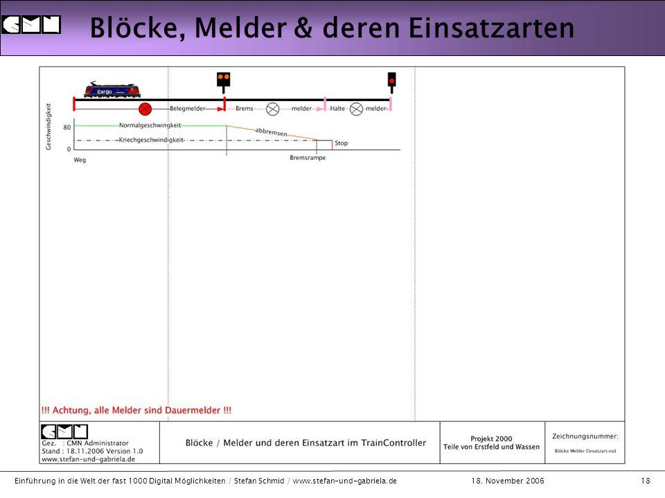 18. November 2006 Einführung in die Welt der fast 1000 Digital Möglichkeiten / Stefan Schmid / www.stefan-und-gabriela.de18 Blöcke, Melder & deren Ein