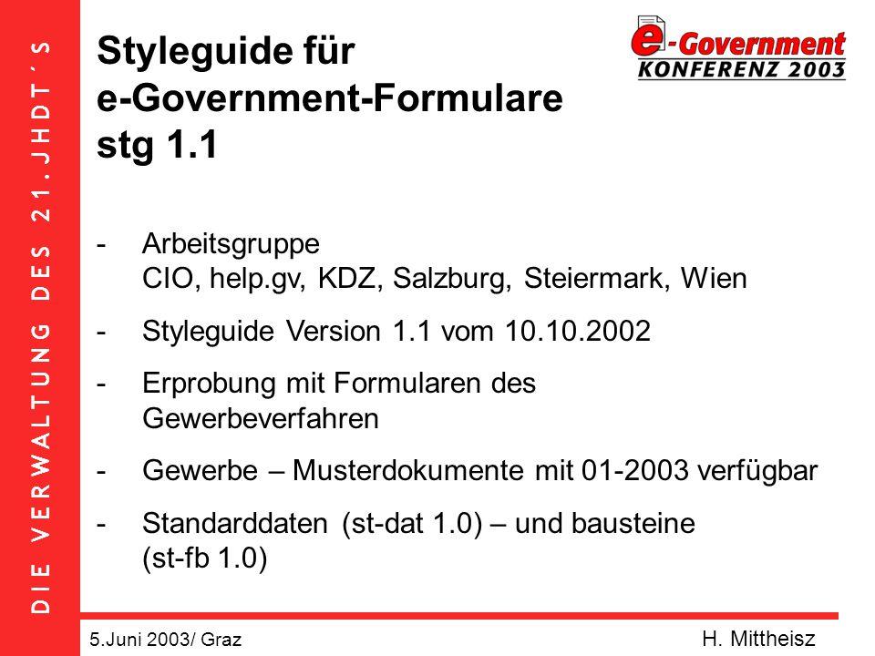 D I E V E R W A L T U N G D E S 2 1. J H D T ´ S stg 1.1 5.Juni 2003/ Graz H. Mittheisz