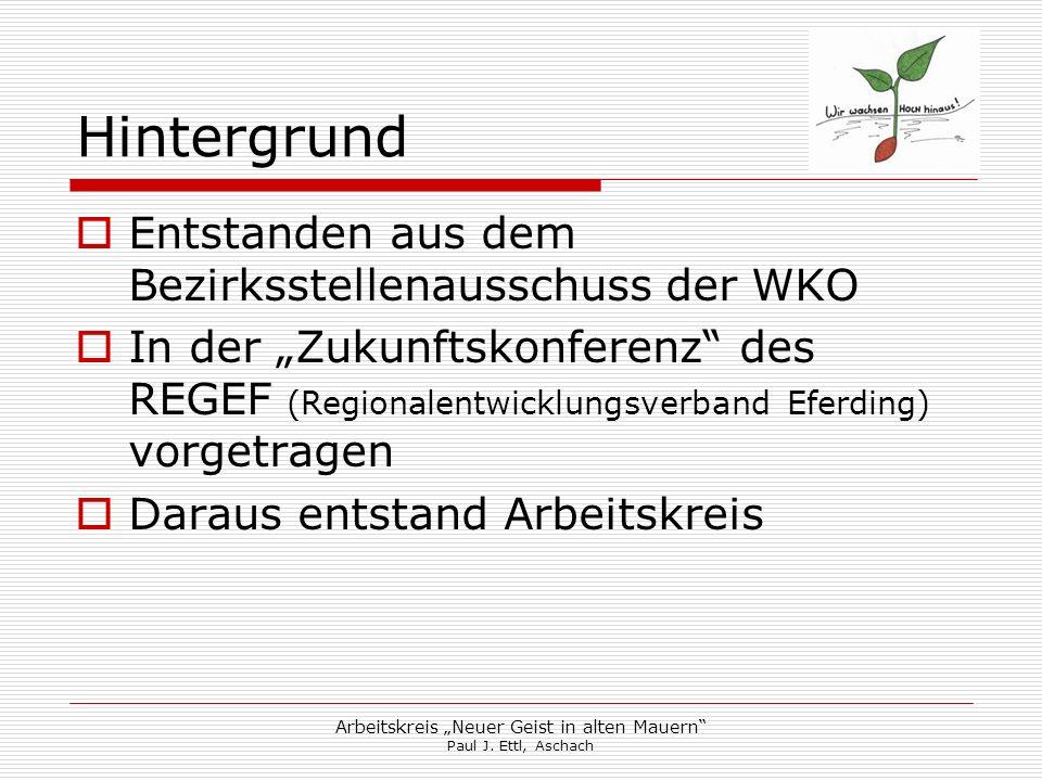 Arbeitskreis Neuer Geist in alten Mauern Paul J. Ettl, Aschach Hintergrund Entstanden aus dem Bezirksstellenausschuss der WKO In der Zukunftskonferenz