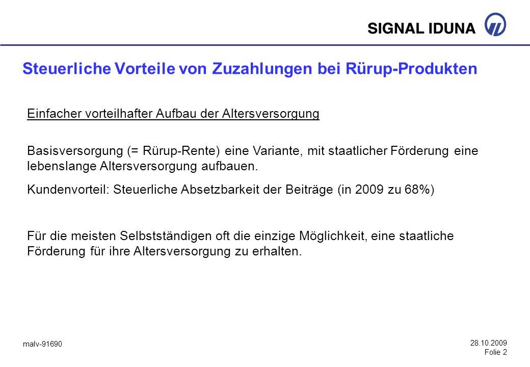 malv-91690 28.10.2009 Folie 2 Steuerliche Vorteile von Zuzahlungen bei Rürup-Produkten Einfacher vorteilhafter Aufbau der Altersversorgung Basisversor