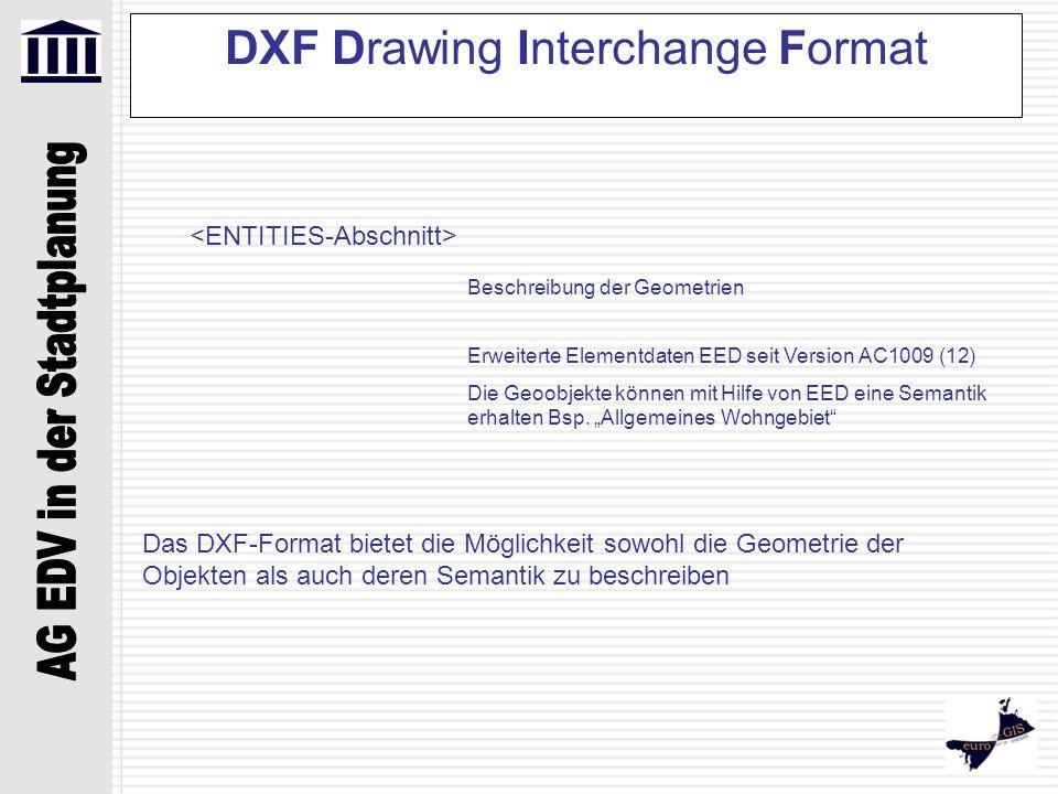 DXF Drawing Interchange Format Beschreibung der Geometrien Erweiterte Elementdaten EED seit Version AC1009 (12) Die Geoobjekte können mit Hilfe von EE