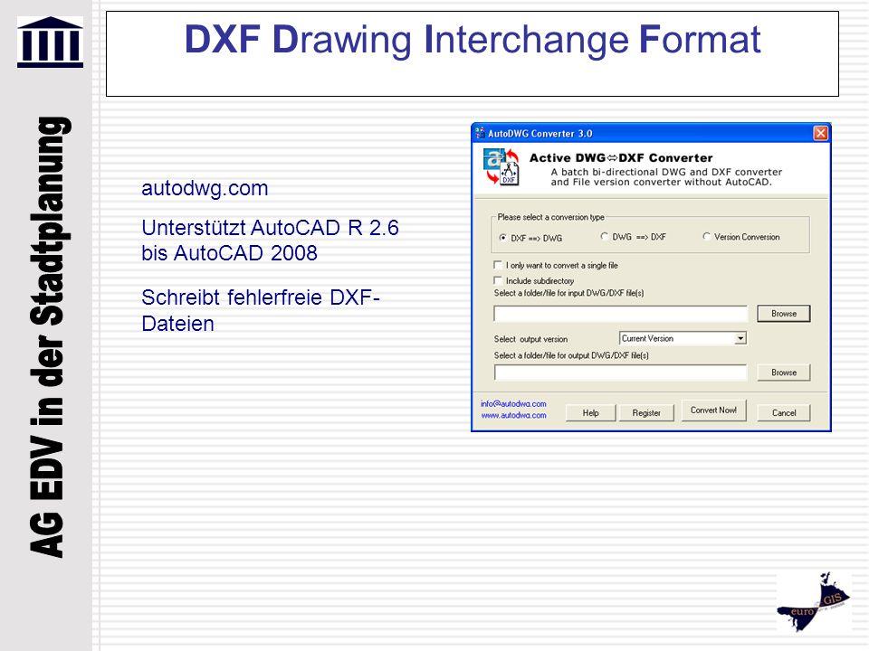 DXF Drawing Interchange Format autodwg.com Unterstützt AutoCAD R 2.6 bis AutoCAD 2008 Schreibt fehlerfreie DXF- Dateien