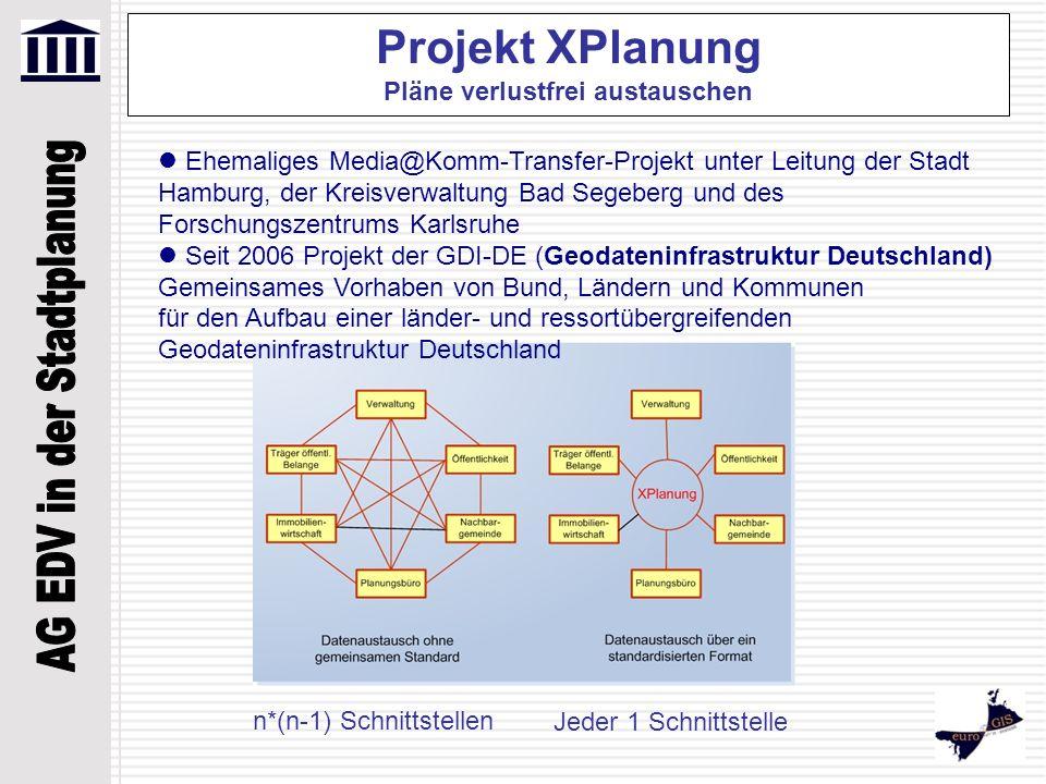 Projekt XPlanung Pläne verlustfrei austauschen Ehemaliges Media@Komm-Transfer-Projekt unter Leitung der Stadt Hamburg, der Kreisverwaltung Bad Segeber