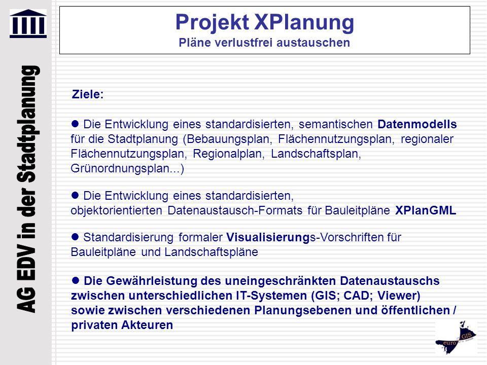 Projekt XPlanung Pläne verlustfrei austauschen Ziele: Die Entwicklung eines standardisierten, semantischen Datenmodells für die Stadtplanung (Bebauung
