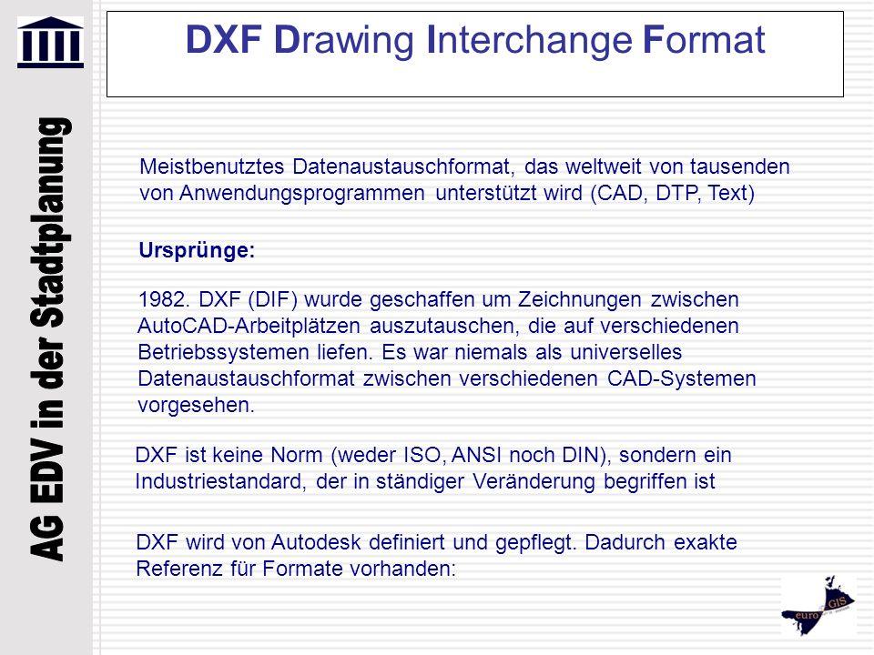 DXF Drawing Interchange Format Versionen: DWG 12 DXF 12 DWG 13DXF 13 DWG 14DXF 14 DWG 2000DXF 2000 DWG 2004DXF 2004 DWG 2007DXF 2007 DXF-Datei beschreibt eine Zeichnung im ASCII-Format (American Standard Code for Information Interchange) und enthält die selben Informationen der korrespondierenden DWG-Datei, die die Zeichnung im kompakten Binär-Format beschreibt