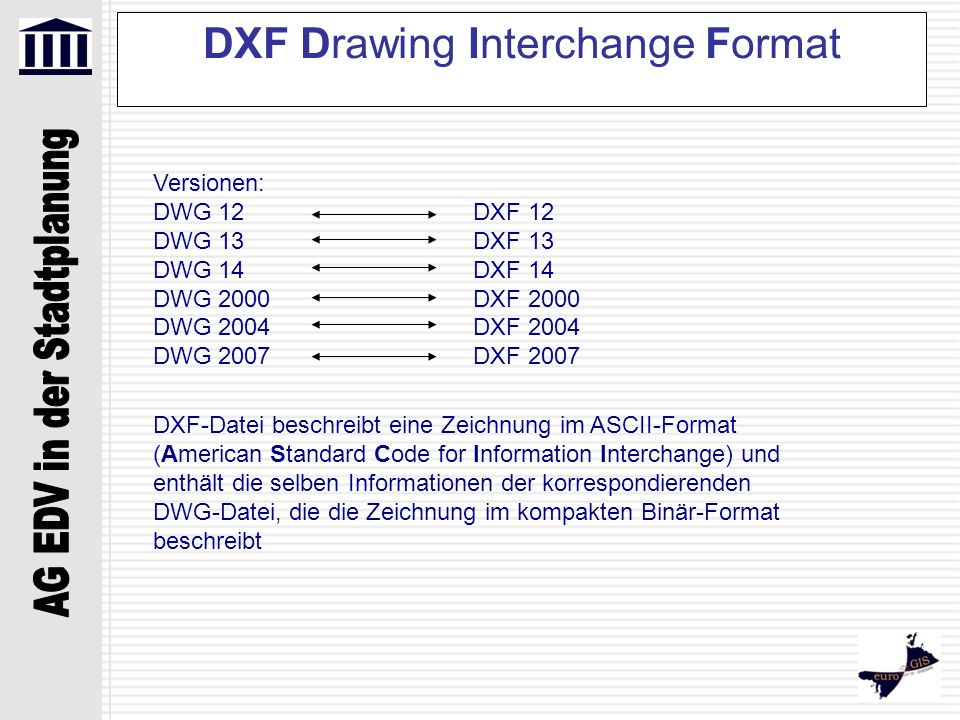 DXF Drawing Interchange Format Versionen: DWG 12 DXF 12 DWG 13DXF 13 DWG 14DXF 14 DWG 2000DXF 2000 DWG 2004DXF 2004 DWG 2007DXF 2007 DXF-Datei beschre
