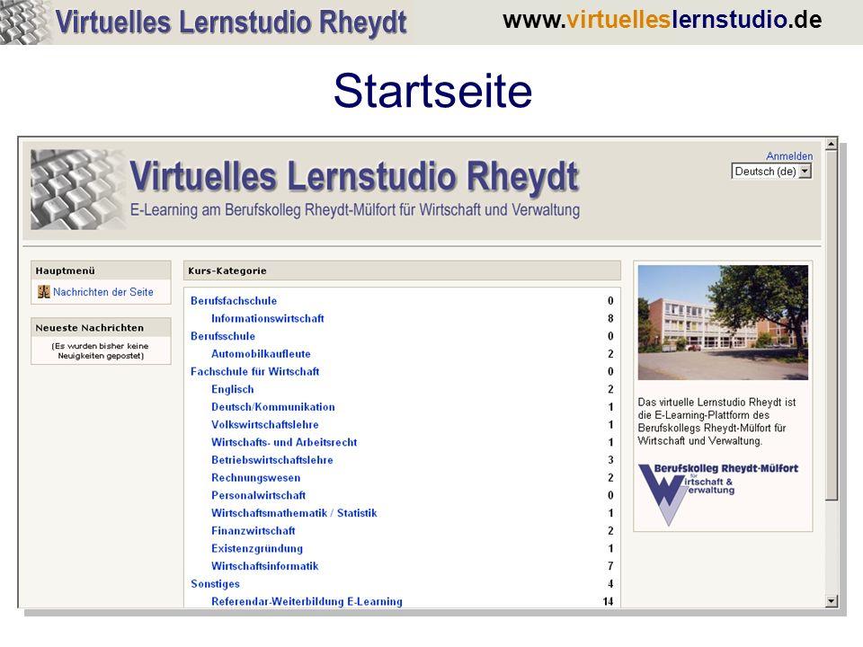 www.virtuelleslernstudio.de Aufbau einer Kursseite Inhaltsübersicht des Kurses Aktuelle Infos zum Kurs Menüspalte mit allen kursrelevanten Infos