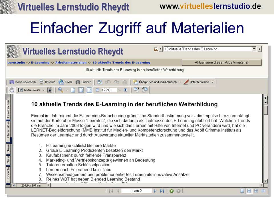 www.virtuelleslernstudio.de Das Glossar: Ein kontextsensitives Lexikon