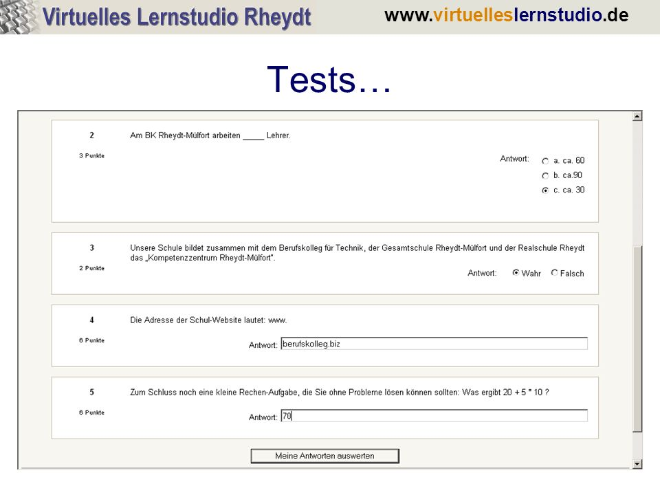 www.virtuelleslernstudio.de Tests…