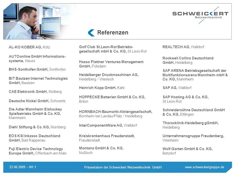 www.schweickertgruppe.de Präsentation der Schweickert Netzwerktechnik GmbH 23.06.2009 – N1.1 Referenzen AL-KO KOBER AG, Kötz AUTOonline GmbH Informati