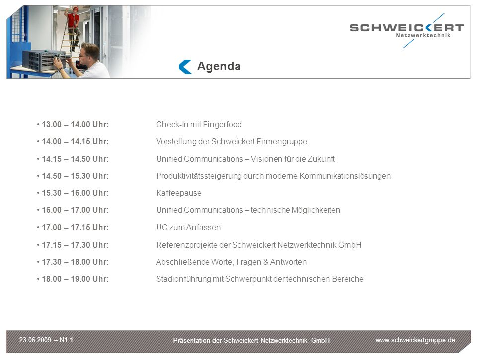 www.schweickertgruppe.de Präsentation der Schweickert Netzwerktechnik GmbH 23.06.2009 – N1.1 Agenda 13.00 – 14.00 Uhr:Check-In mit Fingerfood 14.00 –