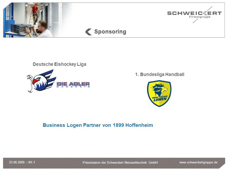 www.schweickertgruppe.de Präsentation der Schweickert Netzwerktechnik GmbH 23.06.2009 – N1.1 Sponsoring Deutsche Eishockey Liga 1. Bundesliga Handball
