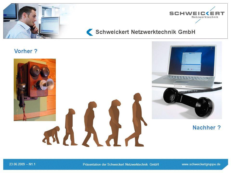 www.schweickertgruppe.de Präsentation der Schweickert Netzwerktechnik GmbH 23.06.2009 – N1.1 Schweickert Netzwerktechnik GmbH Vorher ? Nachher ?