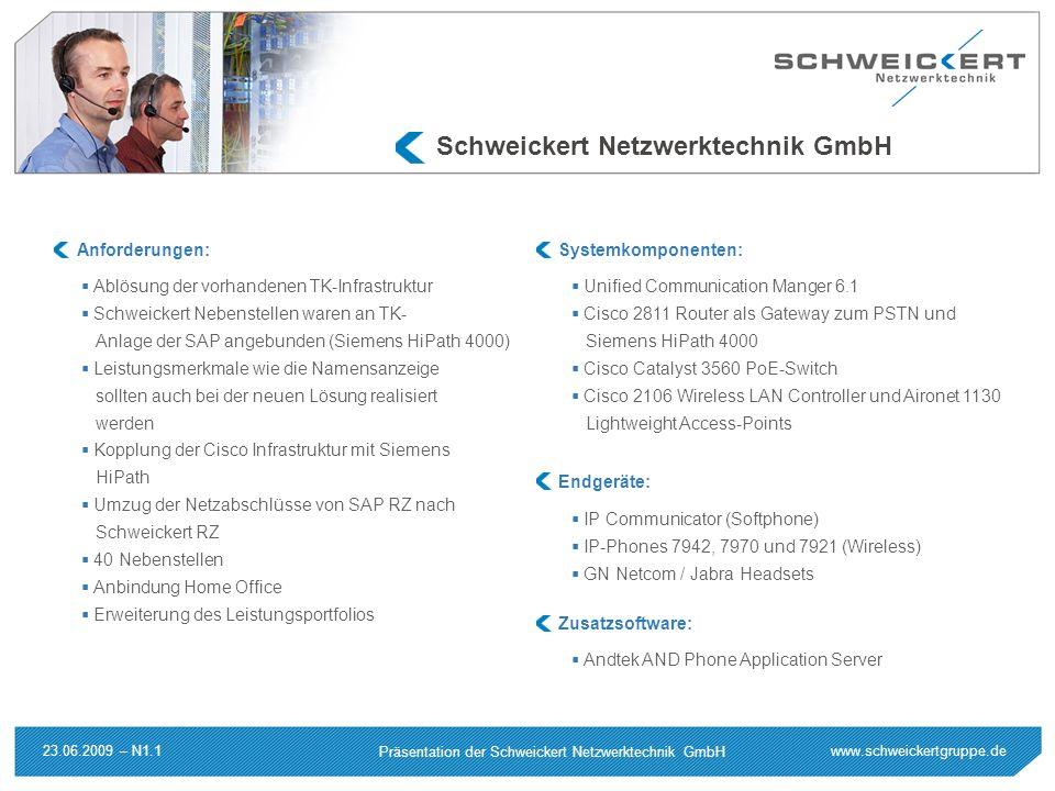 www.schweickertgruppe.de Präsentation der Schweickert Netzwerktechnik GmbH 23.06.2009 – N1.1 Schweickert Netzwerktechnik GmbH Ablösung der vorhandenen