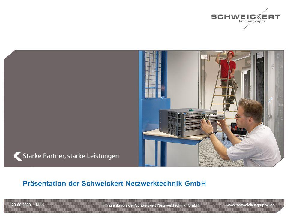 www.schweickertgruppe.de Präsentation der Schweickert Netzwerktechnik GmbH 23.06.2009 – N1.1 Leistungsportfolio Server-Schränke Server, PCs USVen NAS / SAN Netzwerkanalysen WAN Acceleration Multilayer Switches Router WLAN, Richtfunk Industrial Ethernet IT-Infrastruktur