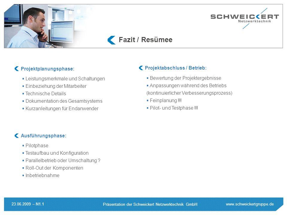 www.schweickertgruppe.de Präsentation der Schweickert Netzwerktechnik GmbH 23.06.2009 – N1.1 Fazit / Resümee Leistungsmerkmale und Schaltungen Einbezi