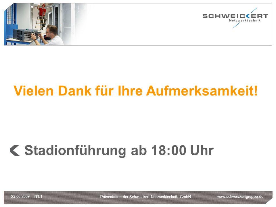 www.schweickertgruppe.de Präsentation der Schweickert Netzwerktechnik GmbH 23.06.2009 – N1.1 Vielen Dank für Ihre Aufmerksamkeit! Stadionführung ab 18