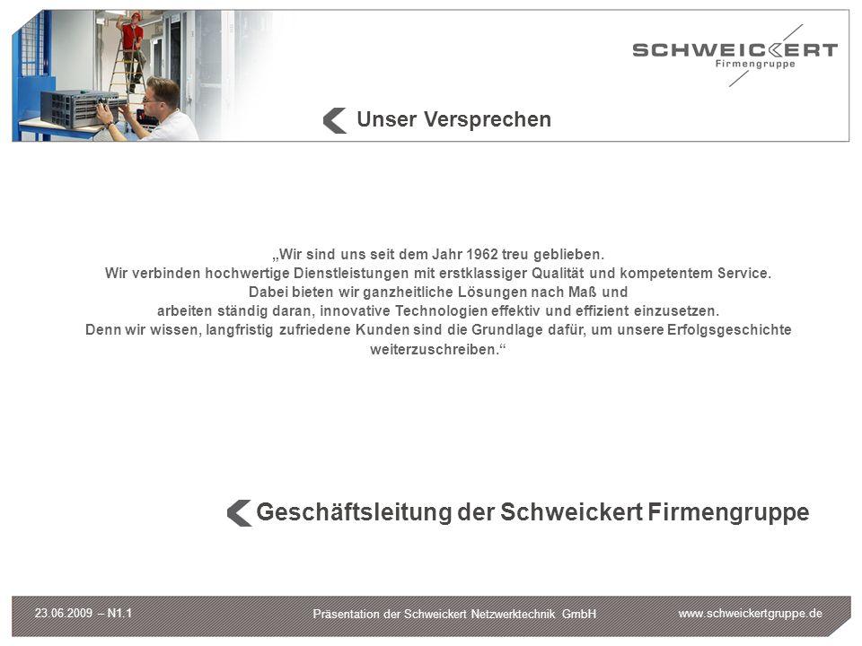 www.schweickertgruppe.de Präsentation der Schweickert Netzwerktechnik GmbH 23.06.2009 – N1.1 Unser Versprechen Wir sind uns seit dem Jahr 1962 treu ge