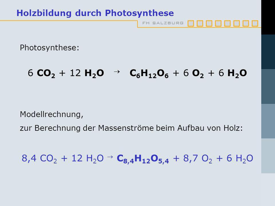 fh salzburg Holzbildung durch Photosynthese Photosynthese: 6 CO 2 + 12 H 2 O C 6 H 12 O 6 + 6 O 2 + 6 H 2 O Modellrechnung, zur Berechnung der Massenströme beim Aufbau von Holz: 8,4 CO 2 + 12 H 2 O C 8,4 H 12 O 5,4 + 8,7 O 2 + 6 H 2 O