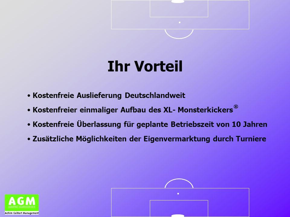 .. Ihr Vorteil Kostenfreie Auslieferung Deutschlandweit Kostenfreier einmaliger Aufbau des XL- Monsterkickers Kostenfreie Überlassung für geplante Bet