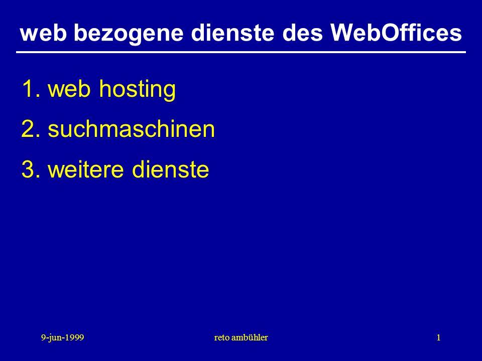 9-jun-1999reto ambühler1 web bezogene dienste des WebOffices 1.