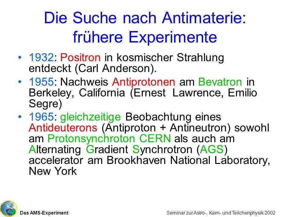 Das AMS-Experiment Seminar zur Astro-, Kern- und Teilchenphysik 2002 Die Suche nach Antimaterie: frühere Experimente 1932: Positron in kosmischer Stra