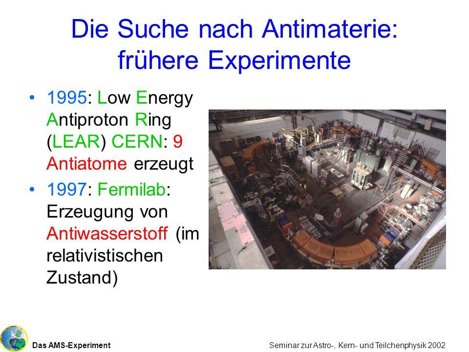Das AMS-Experiment Seminar zur Astro-, Kern- und Teilchenphysik 2002 Die Suche nach Antimaterie: frühere Experimente 1995: Low Energy Antiproton Ring