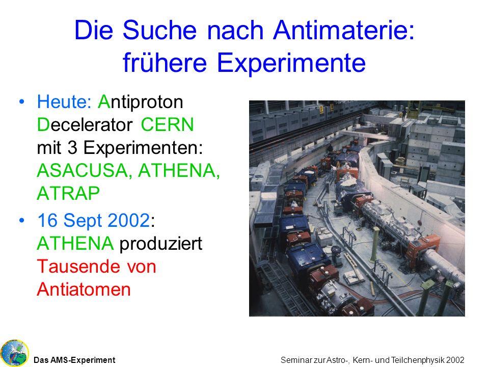 Das AMS-Experiment Seminar zur Astro-, Kern- und Teilchenphysik 2002 Die Suche nach Antimaterie: frühere Experimente Heute: Antiproton Decelerator CER