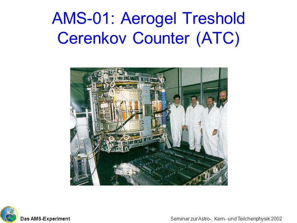 Das AMS-Experiment Seminar zur Astro-, Kern- und Teilchenphysik 2002 AMS-01: Aerogel Treshold Cerenkov Counter (ATC)