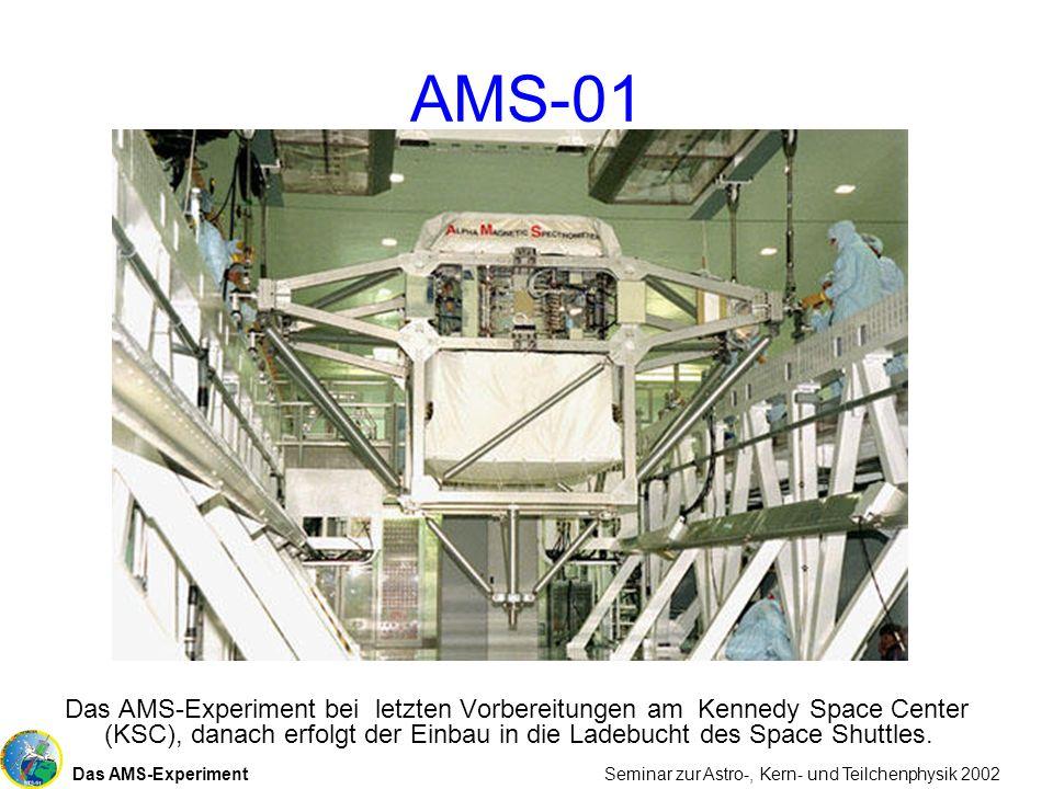 Das AMS-Experiment Seminar zur Astro-, Kern- und Teilchenphysik 2002 AMS-01 Das AMS-Experiment bei letzten Vorbereitungen am Kennedy Space Center (KSC