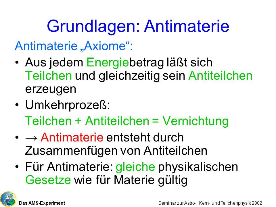 Das AMS-Experiment Seminar zur Astro-, Kern- und Teilchenphysik 2002 Grundlagen: Antimaterie Antimaterie Axiome: Aus jedem Energiebetrag läßt sich Tei