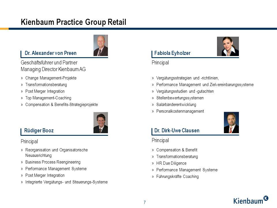 7 Kienbaum Practice Group Retail Geschäftsführer und Partner Managing Director Kienbaum AG Dr. Alexander von Preen »Change Management-Projekte »Transf