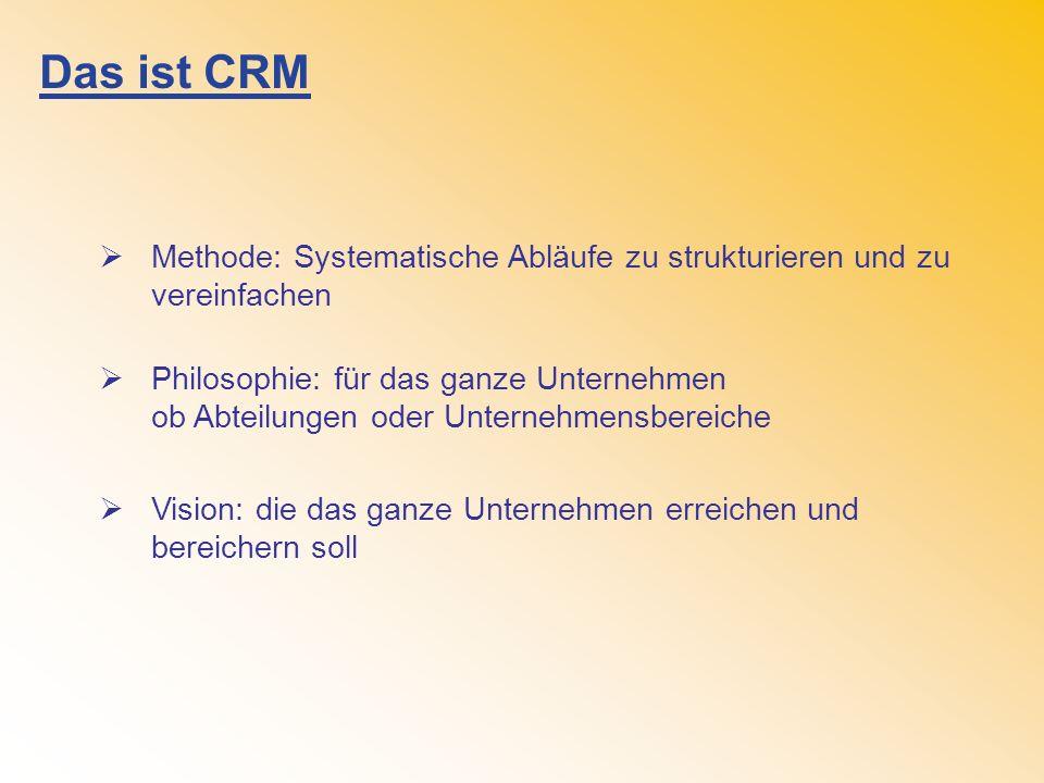 Das ist CRM Methode: Systematische Abläufe zu strukturieren und zu vereinfachen Philosophie: für das ganze Unternehmen ob Abteilungen oder Unternehmensbereiche Vision: die das ganze Unternehmen erreichen und bereichern soll